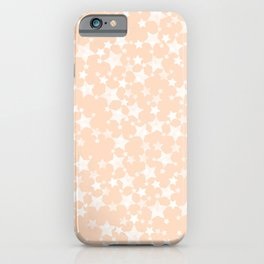 Pretty Peach/Apricot and White Stars Pattern iPhone Case