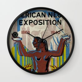 Vintage African American Negro Exposition Poster Advertisement Wall Clock