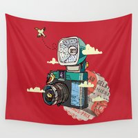 vintage camera Wall Tapestries featuring Camera by dmirilen