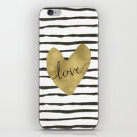 gold foil iPhone & iPod Skins featuring Love gold foil heart by Retro Love Photography