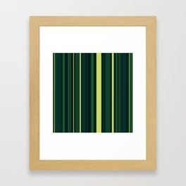 Yellow and Shades of Green Stripes Framed Art Print