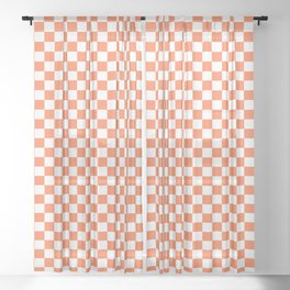 Living Coral Color Checkerboard Sheer Curtain