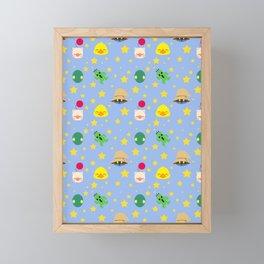 final fantasy pattern blue Framed Mini Art Print