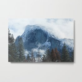 Ice-capped Half Dome at Sunrise | Yosemite National Park, California Metal Print