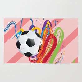 Soccer Ball with Brush Strokes Rug