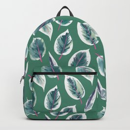 Rubber tree, rubber plant leaf, tropical leaf, palm leaf Backpack