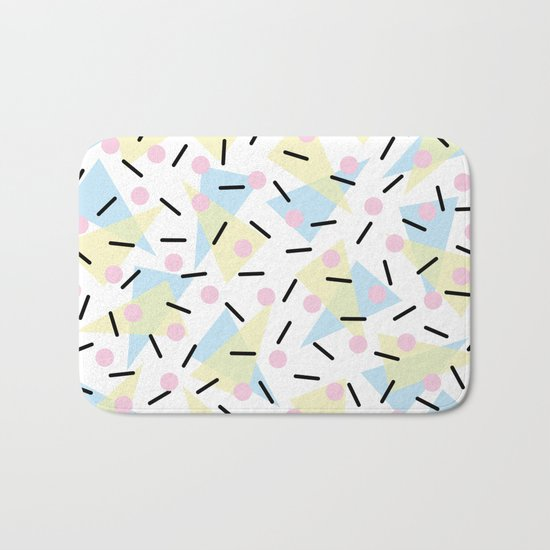 Funky Memphis Confetti Party Pattern Blue Pink Yellow Bath Mat