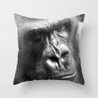 gorilla Throw Pillows featuring Gorilla by SwanniePhotoArt