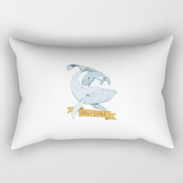 Big Love (gold and blue) Humpback Whales Rectangular Pillow