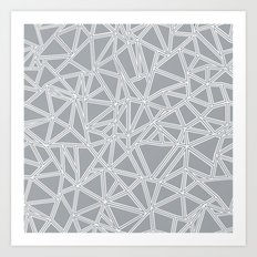 Shattered Ab Grey and White Art Print