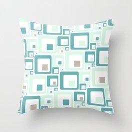 Retro Squares Mid Century Modern Background Throw Pillow