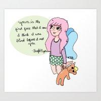 Bright Eyes Pastel Fairy Girl Art Print