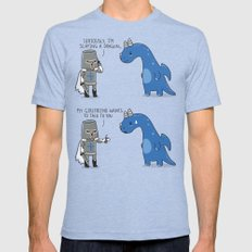 Slaying a dragon LARGE Tri-Blue Mens Fitted Tee
