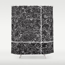 Watercolor Chinoiserie Block Floral Print in Black Ink Porcelain Tiles Shower Curtain