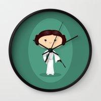 princess leia Wall Clocks featuring Leia by Sombras Blancas Art & Design