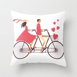 Love Couple riding on the bike Throw Pillow