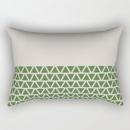 Triangles half Pattern (Treetop Green, Cream) Rectangular Pillow