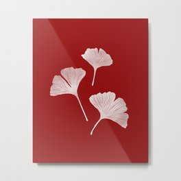 Ginkgo Biloba | Fiery Red Background Metal Print
