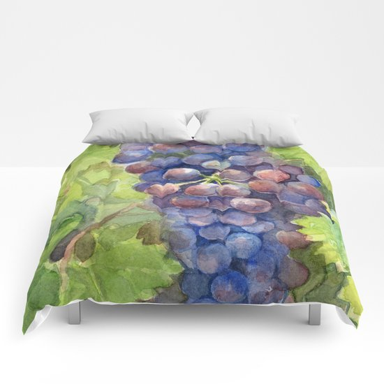 Grapes Watercolor Fruit Food Wine Lovers Comforters