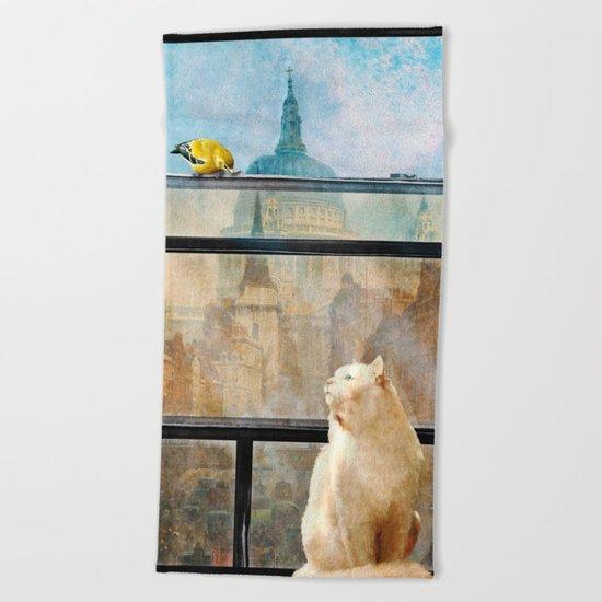 The Bird and the Cat Beach Towel