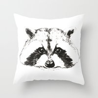 racoon Throw Pillows featuring racoon by eclecticliving