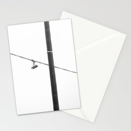 Electric line covered by fog, minimal shot Stationery Cards
