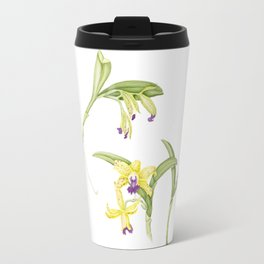 3 Stem flowering yellow and purple cattleya orchid Travel Mug