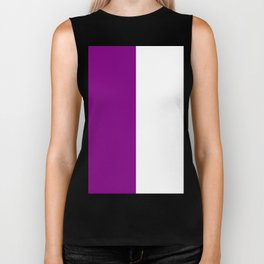 White and Purple Violet Vertical Halves Biker Tank