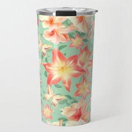 Spring Amaryllis and Butterflies Travel Mug