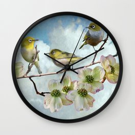 Mejiro in Dogwood Tree Wall Clock