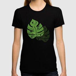 Linocut Monstera Leaf Pattern T-shirt
