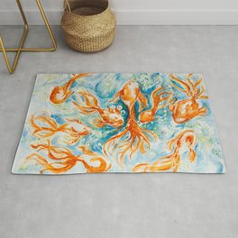 Sparkly Gold Goldfish watercolor by CheyAnne Sexton Rug