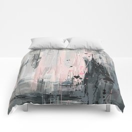 Soft Pink Abstract Comforters