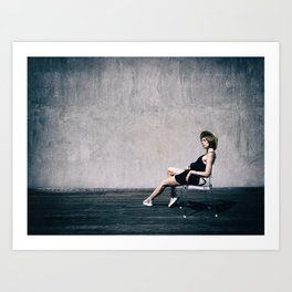 top model with hat Art Print