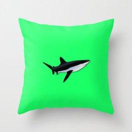 Great White Shark  on Acid Green Fluorescent Background Throw Pillow