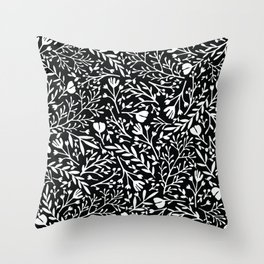 Scattered Flowers Black and White Throw Pillow