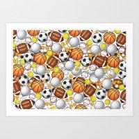 sport Art Prints featuring Sport Balls by Martina Marzullo Art