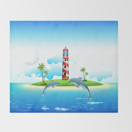 Jumping Dolphin on Sea Throw Blanket