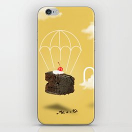 Isolated Chocolate cherry cake with parachute on yellow sky background iPhone Skin
