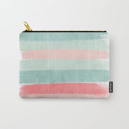 Stripes painted coral minimal mint teal bright southern charleston decor colors Carry-All Pouch