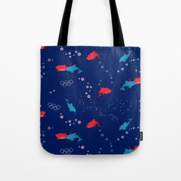 Blue Dolphin and Red Shark Olympic Tote Bag