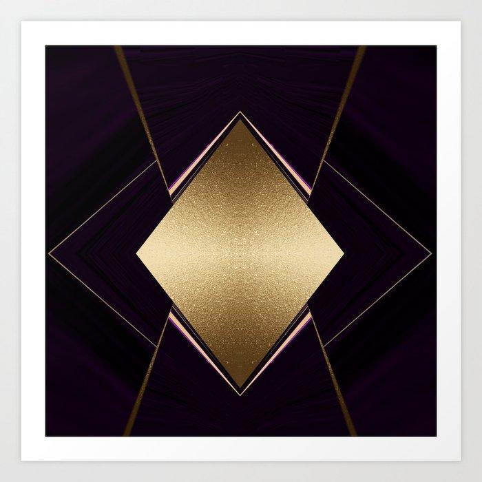 Rich Gold and Purple Accent Diamond Pattern Art Print