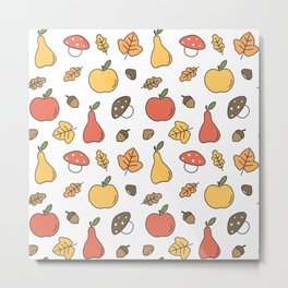 cute colorful autumn fall pattern with pears, apples, leaves, acorns, chestnuts and mushrooms Metal Print