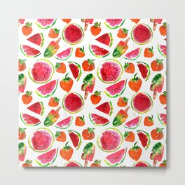 Watercolor watermelon and strawberries fruit popsicles illustration Metal Print