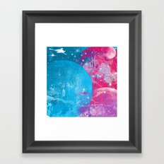 spaceship in the cosmos, moon, space, galaxy Framed Art Print