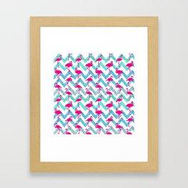 Go Flamingo! Tropical Pink Neon Flamingos Teal Glitter Chevron Framed Art Print