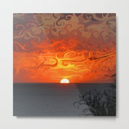 Fluid sunset in Sperlonga (Italy) Metal Print