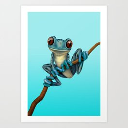 Cute Blue Tree Frog on a Branch Art Print