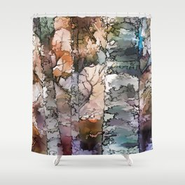 Autumn Aspen Trees - 1 by OLena Art - brand Shower Curtain