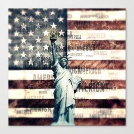 Vintage Patriotic American Liberty Canvas Print